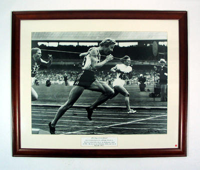 Reproduction photograph - Shirley Strickland in women's 80 mtr hurdle 1956 Melbourne Olympic Games