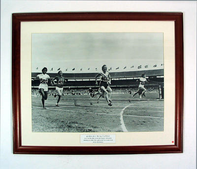 Reproduction photograph - Betty Cuthbert in women's 100 mtr 1956 Melbourne Olympic Games