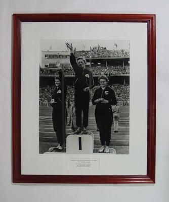 Reproduction photograph -Shirley Strickland, Norma Thrower & Gisela Kohler on podium 1956 Olympic Games
