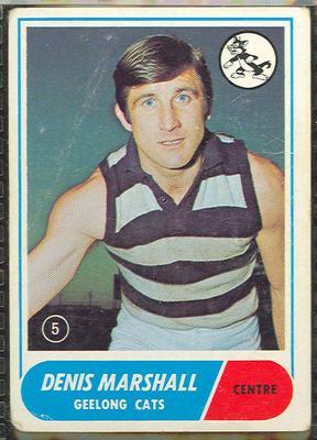 1969 Scanlen's Gum Australian Football, Denis Marshall trade card