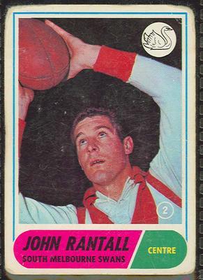 1969 Scanlen's Gum Australian Football, John Rantall trade card; Documents and books; 1987.1811.161