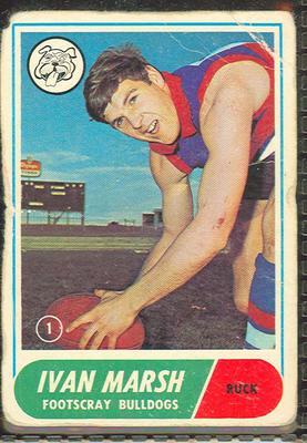 1969 Scanlen's Gum Australian Football, Ivan Marsh/David Thorpe trade card; Documents and books; 1987.1811.162