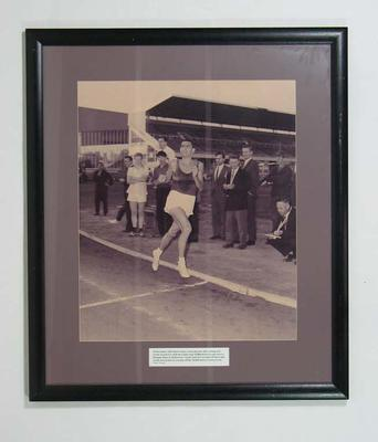 Reproduction photograph - Ron Clarke new world record 18 December 1963; Photography; Framed; 2004.4045