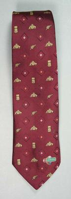 Maroon Australian Cricket Board tie with Australian, New Zealand and South African Cricket emblems and VB Series logo; Clothing or accessories; M16189