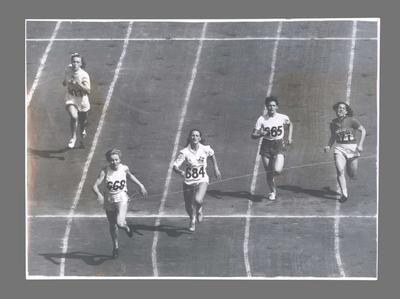 Photograph of Shirley Strickland winning 100m heat, 1948 Olympic Games
