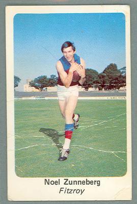 1971 Sunicrust Australian Football, Noel Zunneberg trade card