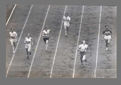 Photograph of Fanny Blankers-Koen winning 100m semi-final, 1948 Olympic Games