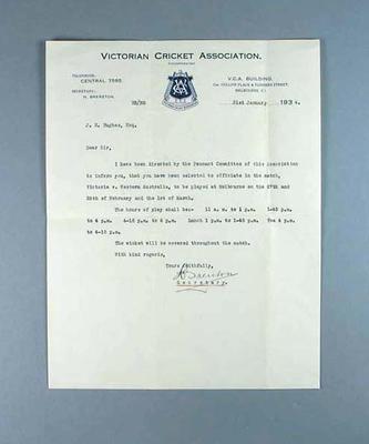 Letter from Victorian Cricket Association advising J Hughes of umpiring duties, 1934