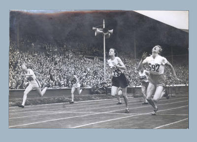 Photograph taken during women's 80m hurdles final, 1948 Olympic Games
