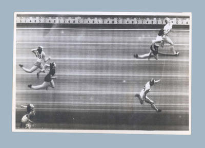 Photograph of women's 80m hurdles final finish line, 1948 Olympic Games
