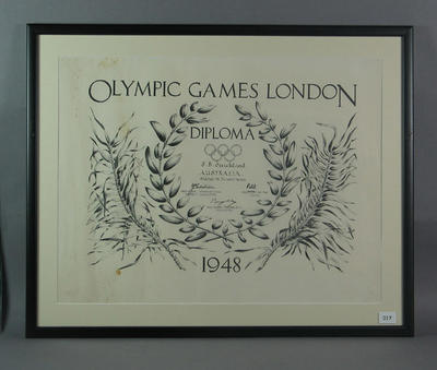 Diploma presented to Shirley Strickland for fourth place in 200m, 1948 Olympic Games