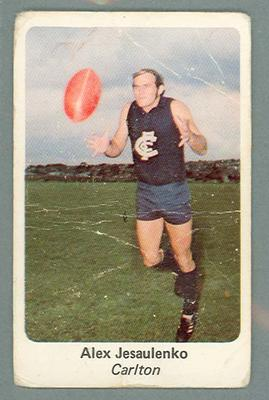 1971 Sunicrust Australian Football, Alex Jesaulenko trade card