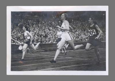 Photograph of Shirley Strickland winning 200m heat, 1948 Olympic Games