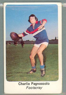 1971 Sunicrust Australian Football, Charlie Pagnoccolo trade card; Documents and books; 1987.1811.248