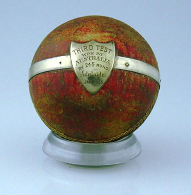 Presentation cricket ball - Third Test, won by Australia, Adelaide,  January 1908