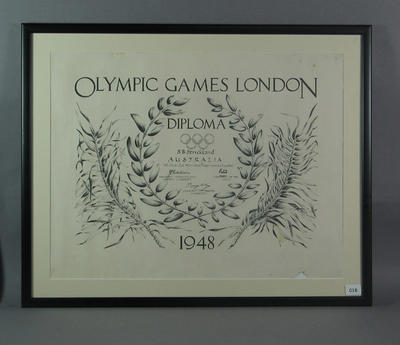 Diploma presented to Shirley Strickland for second place in 4x100m relay, 1948 Olympic Games