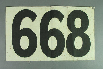 Competitor's number worn by Shirley Strickland, 1948 Olympic Games