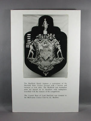 Photograph of Sheffield Shield, with accompanying explanatory text