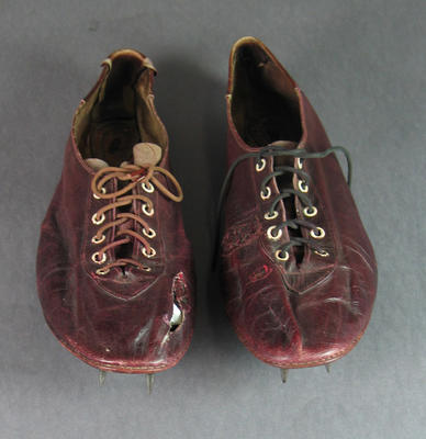 Pair of running shoes worn by Shirley Strickland, 1948 Olympic Games