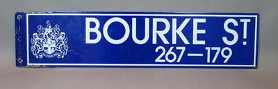 Street sign, Bourke Street; Flags and signage; M11953