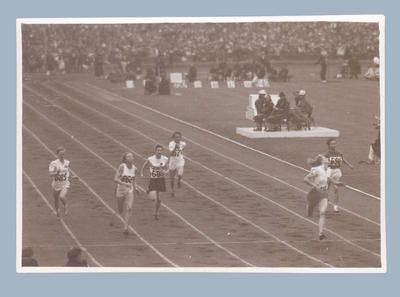 Photograph of Shirley Strickland competing in track event, 1948 Olympic Games