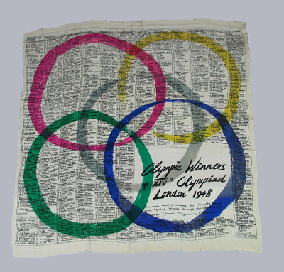Scarf, printed with names of 1948 Olympic Games event winners
