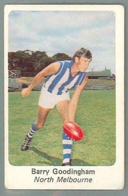 1971 Sunicrust Australian Football, Barry Goodingham trade card; Documents and books; 1987.1811.273