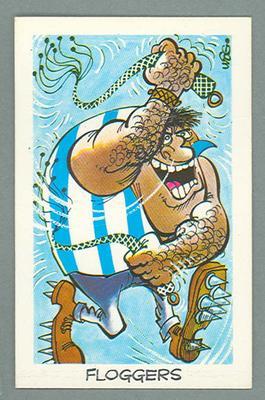 1973 Sunicrust Australian Football - Weg's Fantastic Footy Cartoons, Floggers trade card