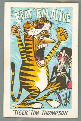 1973 Sunicrust Australian Football - Weg's Fantastic Footy Cartoons, Tiger Tim Thompson trade card