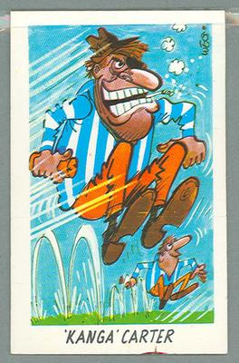 1973 Sunicrust Australian Football - Weg's Fantastic Footy Cartoons, Kanga Carter trade card