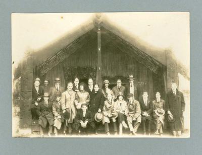 Photograph of Australian hockey team in Whaka Maori Village, July 1925