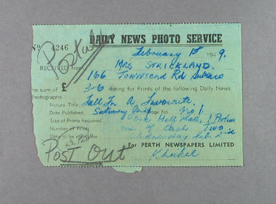 Receipt for purchase of Daily News photograph, 18 February 1949