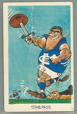 1972 Sunicrust Australian Football - Weg's Footy Funnies, Stab Pass trade card