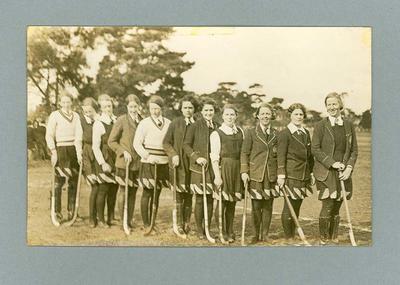Photograph of University of Melbourne women's hockey team, c1934