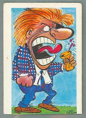 1973 Sunicrust Australian Football - Weg's Fantastic Footy Cartoons, Leo Lyon trade card