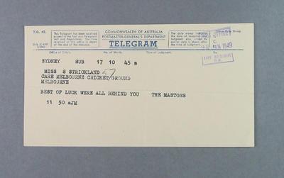 Telegram from Maston Family to Shirley Strickland, 22 January 1949