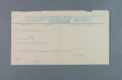 Telegram from Violet Strickland to Shirley Strickland, 22 January 1949