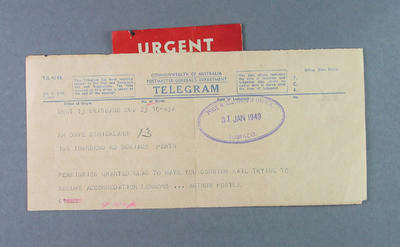 Telegram from Arthur Postle to Dave Strickland, 31 January 1949