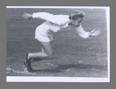 Photograph of Shirley Strickland on starting blocks, c1949
