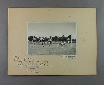 Photograph of women's athletics event finish line, Perth - 29 January 1949; Photography; 2003.3903.417