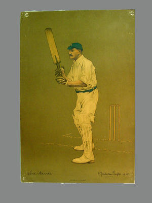 Print of cricketer Lord Hawke from a lithograph by A. Chevallier Tayler 1905