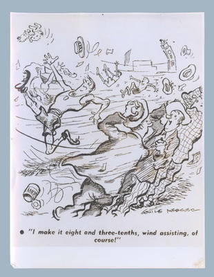 Cartoon, depicting wind assisted athletes