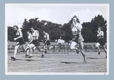 Photograph depicting a women's running race, c1949