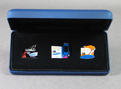 Presentation box with badges - 2004 Athens Olympic Games Torch Relay