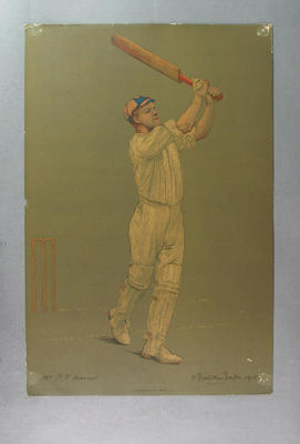 Print of cricketer Pelham Francis Warner from a lithograph by A. Chevallier Tayler 1905; Artwork; M3726