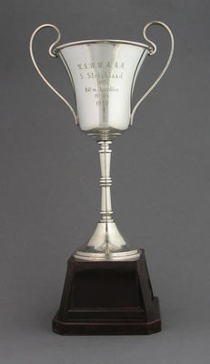 NSWWAAA 1950 80m hurdles first place trophy, won by Shirley Strickland