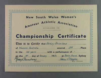NSWWAAA 1950 100 yards third place certificate, won by Shirley Strickland