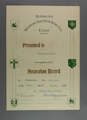 AWAAU 440 yards record certificate, presented to Shirley Strickland 4 Jan 1950