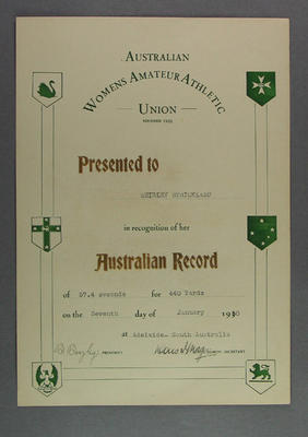 AWAAU 440 yards record certificate, presented to Shirley Strickland 7 Jan 1950