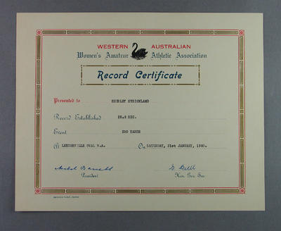 WAWAAA 220 yards record certificate, presented to Shirley Strickland 21 Jan 1950